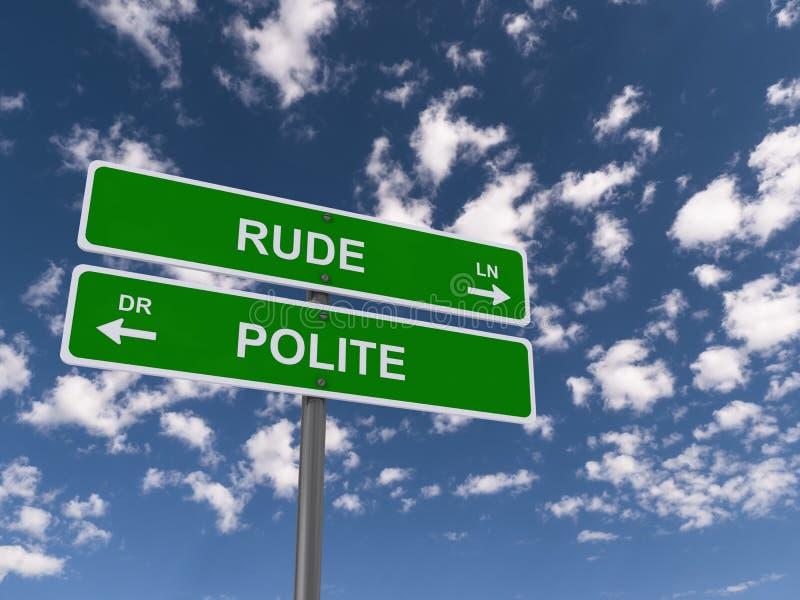 Segno maleducato e gentile immagine stock libera da diritti