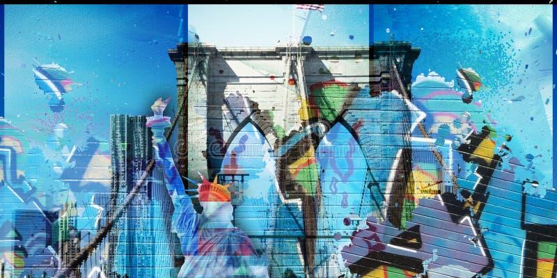 Segno, mattoni, vicino al ponte di Brooklyn royalty illustrazione gratis