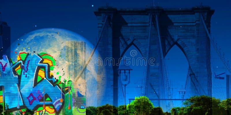 Segno, mattoni, vicino al ponte di Brooklyn illustrazione vettoriale