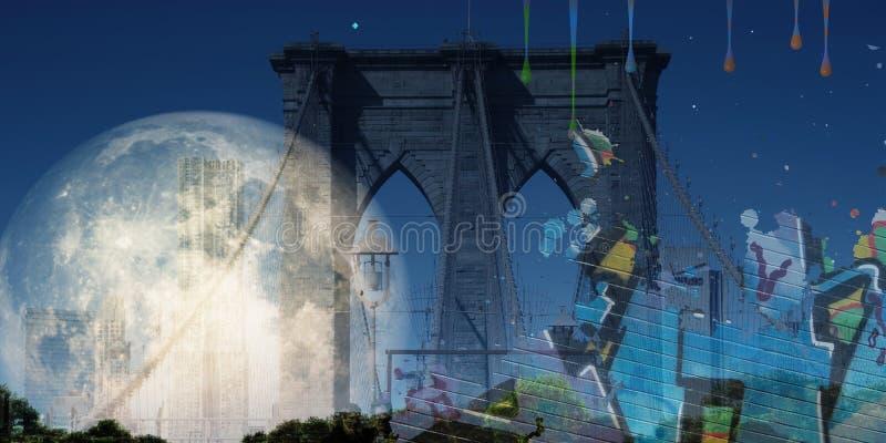 Segno, mattoni, vicino al ponte di Brooklyn illustrazione di stock
