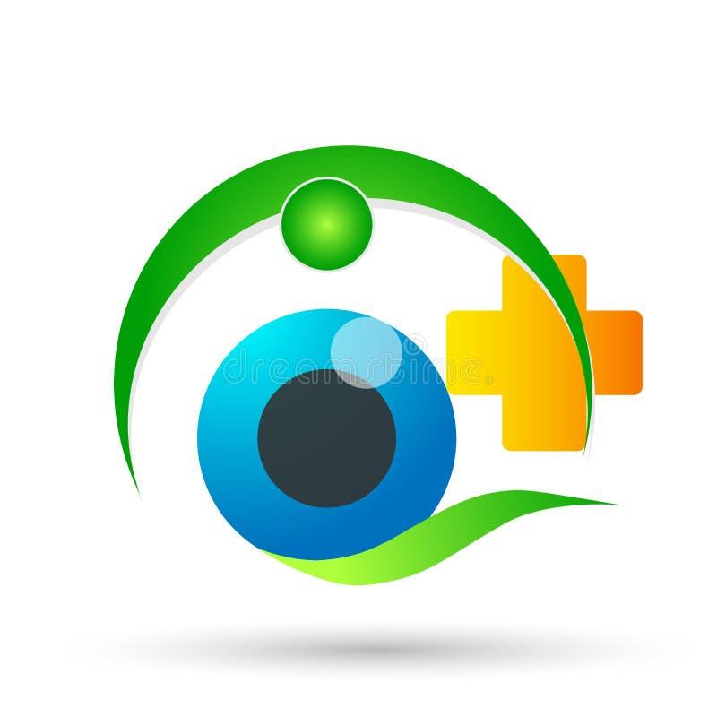 Segno medico dell'elemento dell'icona di logo di concetto di salute della famiglia del globo di cura dell'occhio su fondo bianco illustrazione di stock