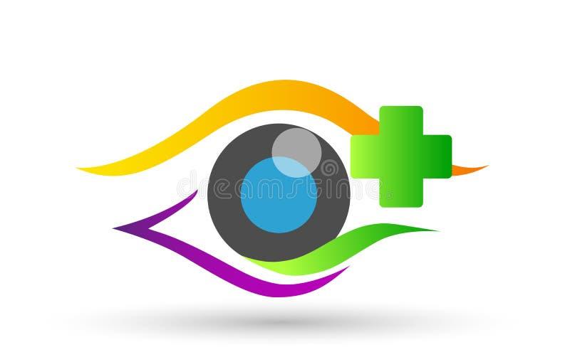 Segno medico dell'elemento dell'icona di logo di concetto di salute della famiglia del globo di cura dell'occhio su fondo bianco royalty illustrazione gratis