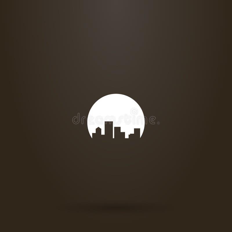 Segno negativo di paesaggio urbano del giro dello spazio di vettore delle case di palazzo multipiano illustrazione di stock