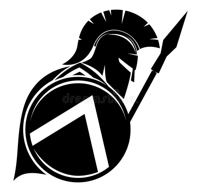 Segno nero di spartano illustrazione vettoriale