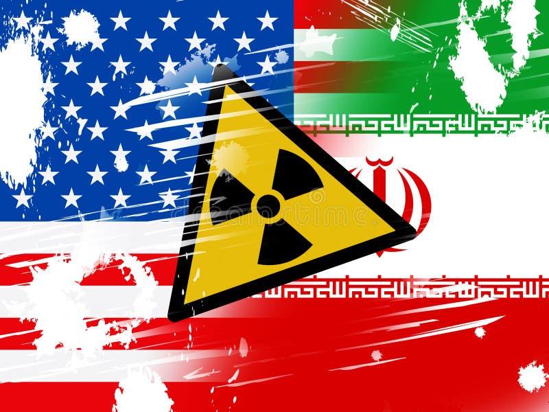 Segno nucleare dell'Iran - negoziato o colloqui di affare con gli S.U.A. - 2d illustrazione illustrazione vettoriale