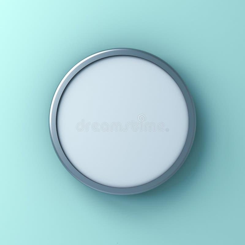 Segno o derisione rotondo in bianco sul bordo o sulla pubblicità del contrassegno del bottone del giro isolato sul fondo verde ch royalty illustrazione gratis