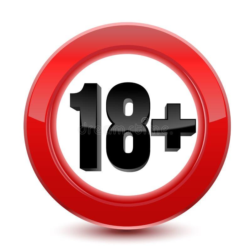 Segno o icona limite di età nel rosso 18 anni più Vettore isolato su fondo bianco illustrazione vettoriale