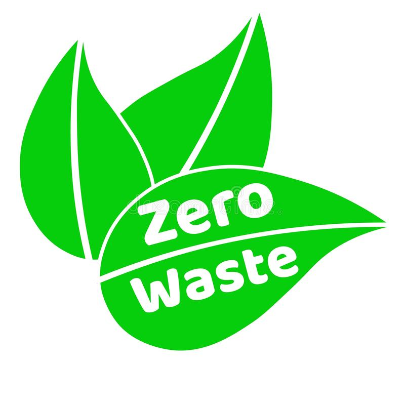 Segno o logo d'iscrizione residuo zero del testo con le foglie verdi Concetto della gestione dei rifiuti Riduca, riutilizzi, rici illustrazione di stock