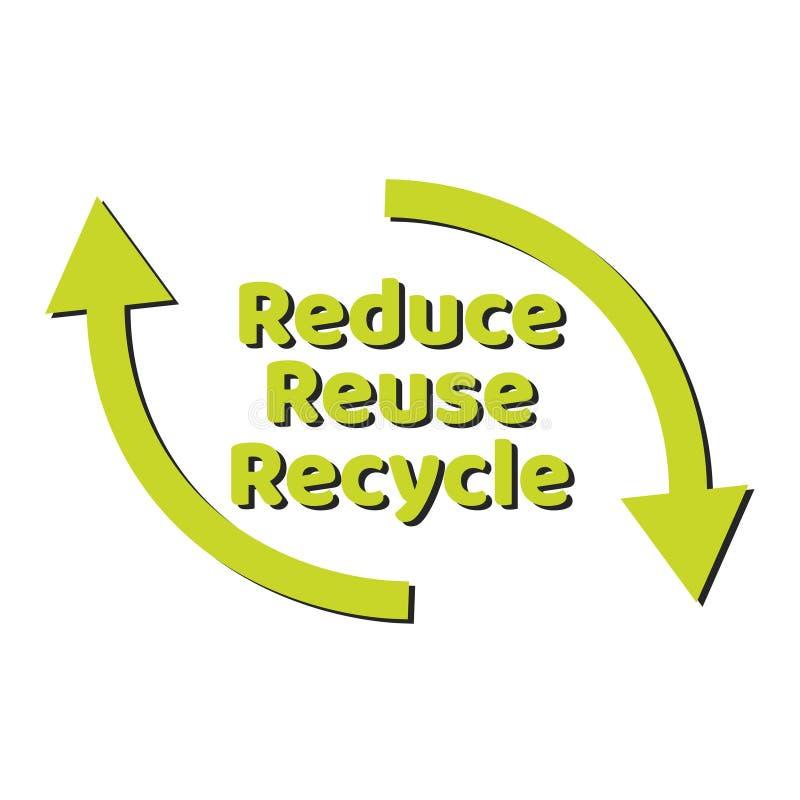 Segno o logo d'iscrizione residuo zero del testo Concetto della gestione dei rifiuti Riduca, riutilizzi, ricicli e rifiuti stile  royalty illustrazione gratis