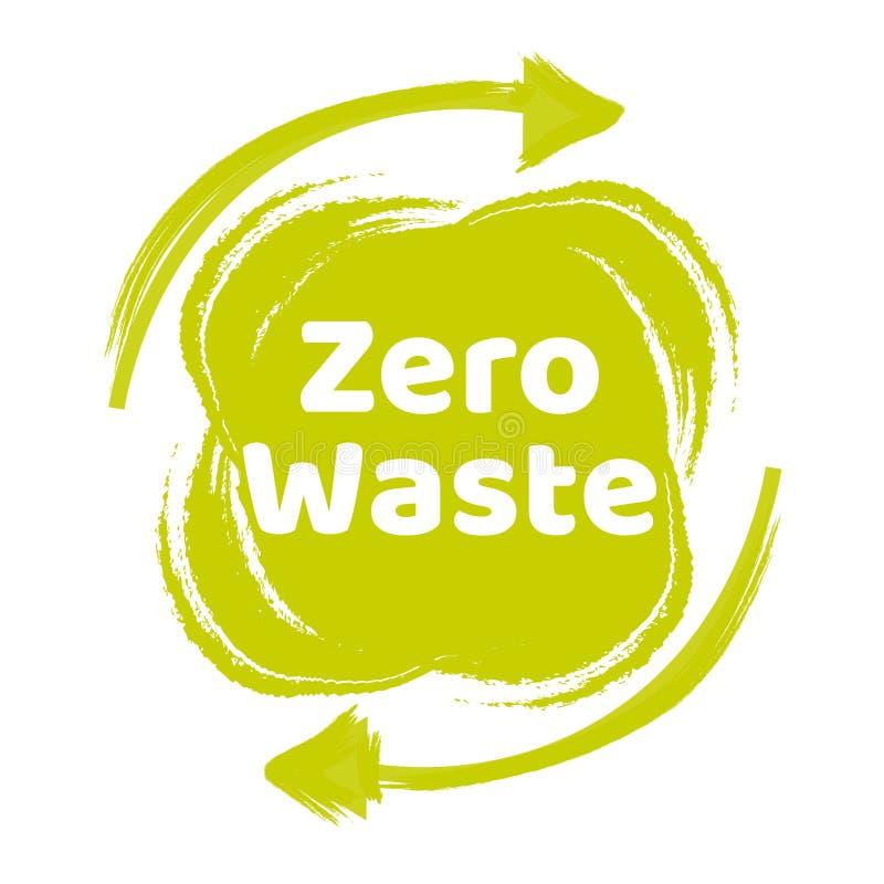 Segno o logo d'iscrizione residuo zero del testo Concetto della gestione dei rifiuti Riduca, riutilizzi, ricicli e rifiuti stile  illustrazione di stock