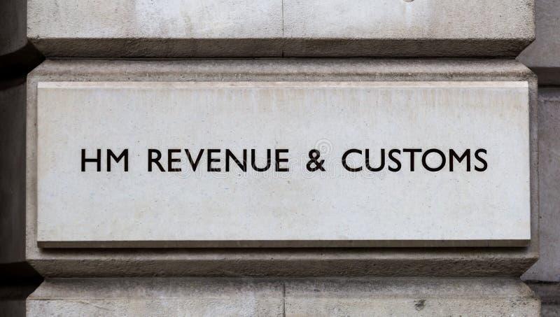 Segno per il HM Revenue e le abitudini immagini stock