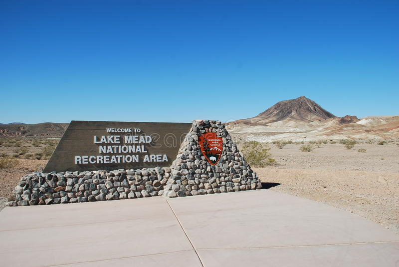 Segno per il lago Mead National Recreation Area vicino a Las Vegas, Nevada fotografia stock