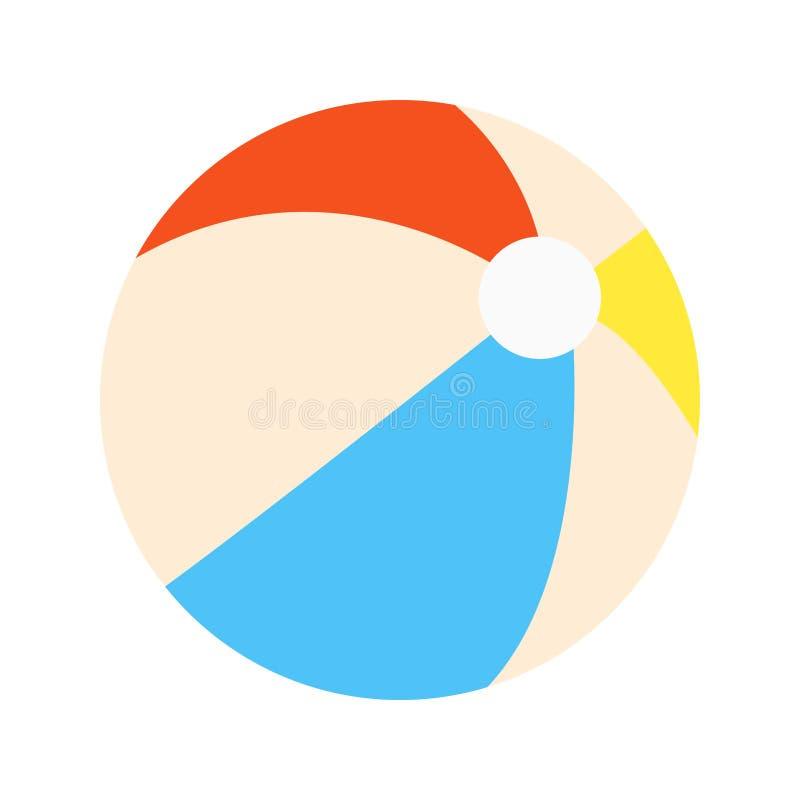 Segno piano dell'icona dell'illustrazione di vettore di progettazione di stile del beach ball isolato su fondo bianco royalty illustrazione gratis