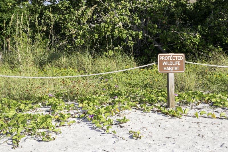 Segno protetto dell'habitat della fauna selvatica fotografia stock libera da diritti