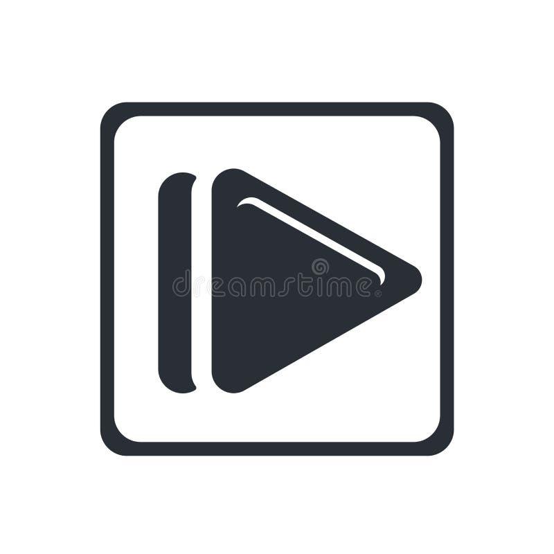Segno quadrato e simbolo di vettore dell'icona del tasto di riproduzione isolati su fondo bianco, concetto quadrato di logo del t illustrazione di stock
