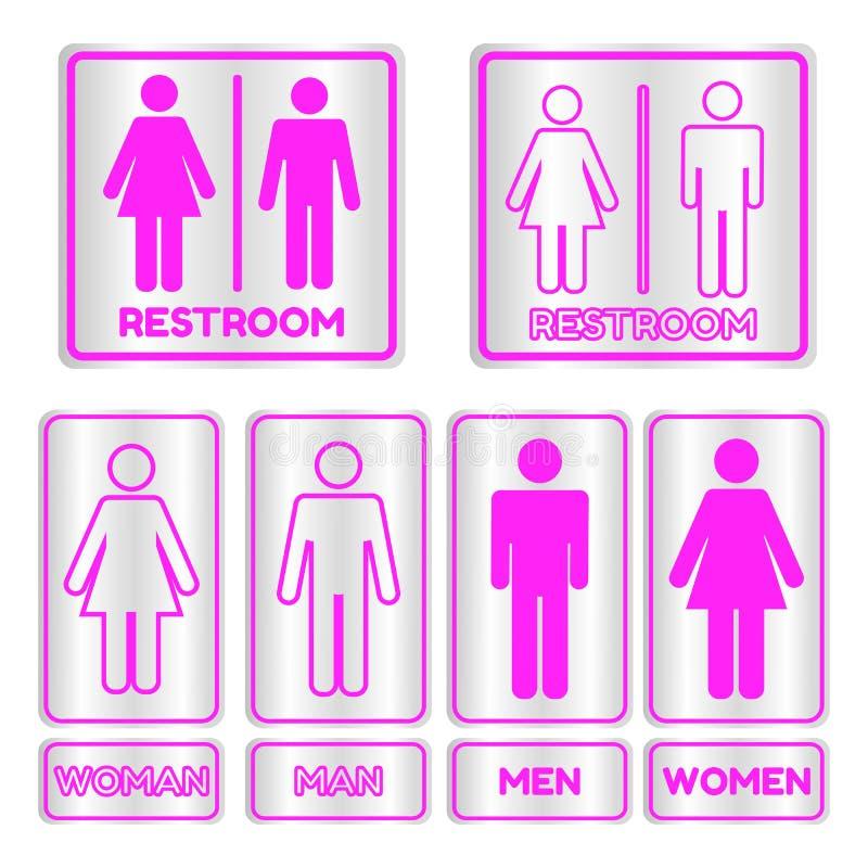 Segno quadrato rosa della toilette messo con testo illustrazione di stock