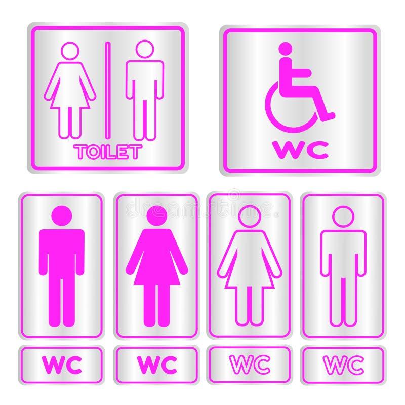 Segno quadrato rosa della toilette messo con testo illustrazione vettoriale
