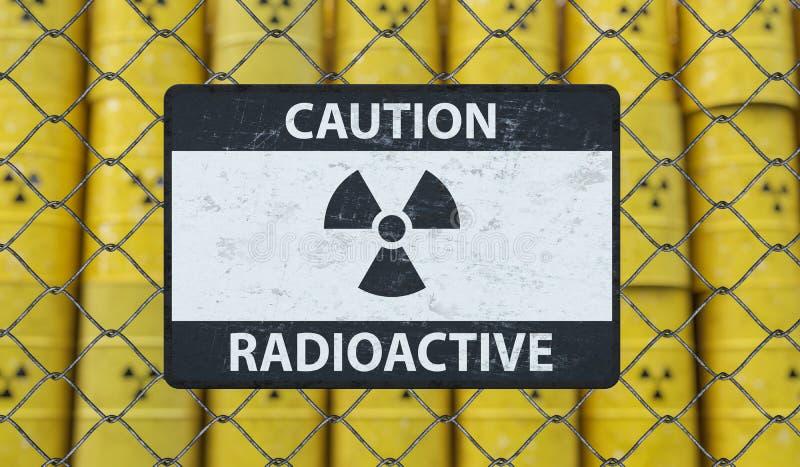 Segno radioattivo di cautela sul recinto del collegamento a catena e molti barilotti con scorie nucleari nel fondo 3D ha reso l'i illustrazione di stock