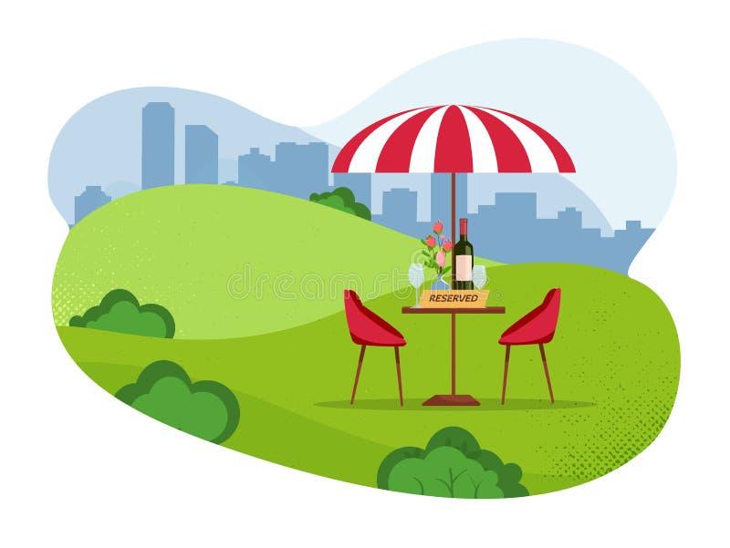 Segno riservato sulla tavola in caffè del parco della via Concetto riservato della Tabella Riserva che si rilassa in un caffè all royalty illustrazione gratis
