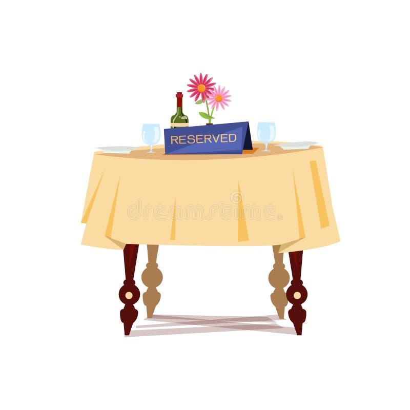 Segno riservato sulla tavola in ristorante Concetto riservato della Tabella royalty illustrazione gratis