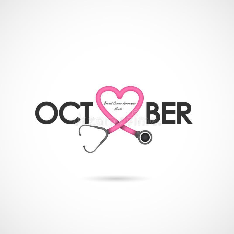 Segno rosa del nastro del cuore Campo di mese di consapevolezza di ottobre del cancro al seno illustrazione di stock