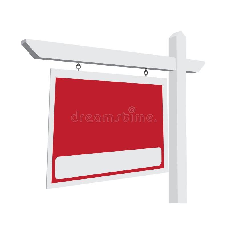 Segno rosso in bianco del bene immobile di vettore illustrazione vettoriale