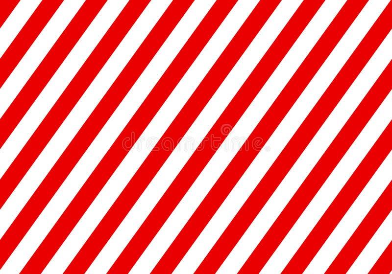 Segno rosso d'avvertimento con le linee rettangolari bianche Contesto astratto con le strisce bianche e rosse diagonali Fondo di  illustrazione di stock