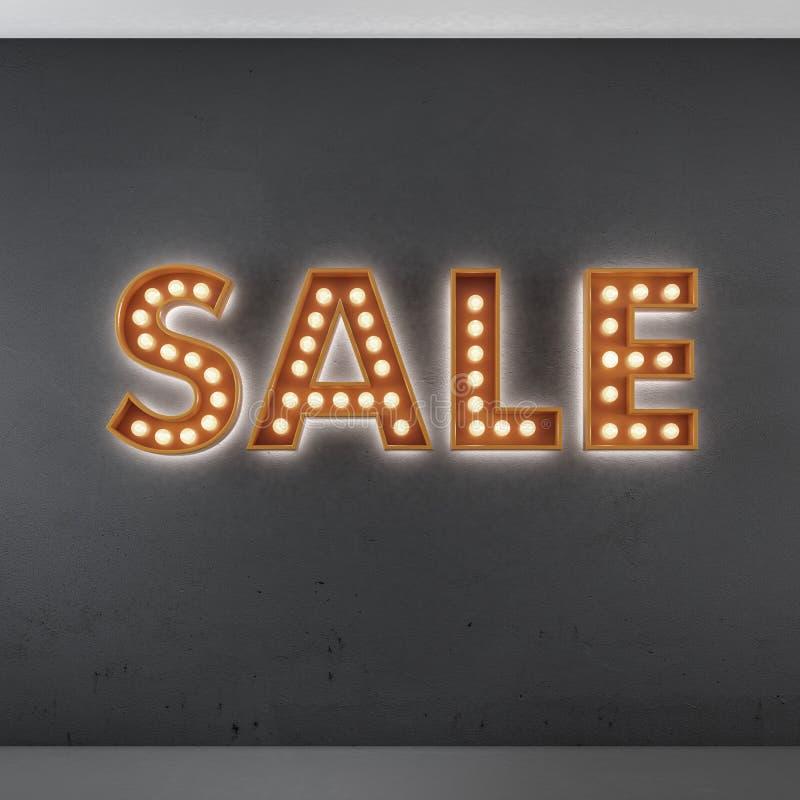 Segno rosso della pubblicità di vendita sulla parete nera royalty illustrazione gratis