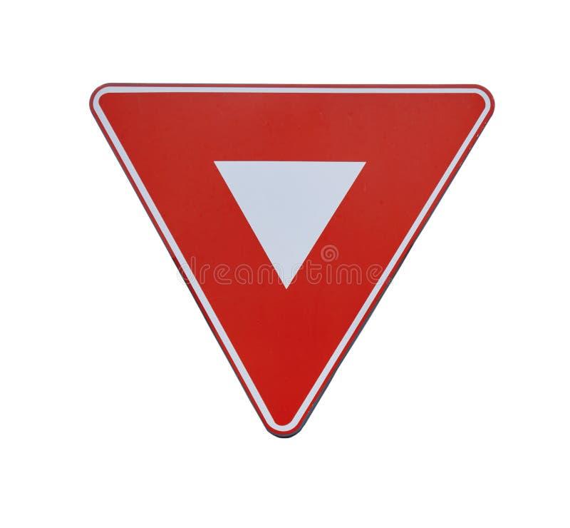Segno rosso di coordinazione di traffico stradale del triangolo isolato fotografia stock