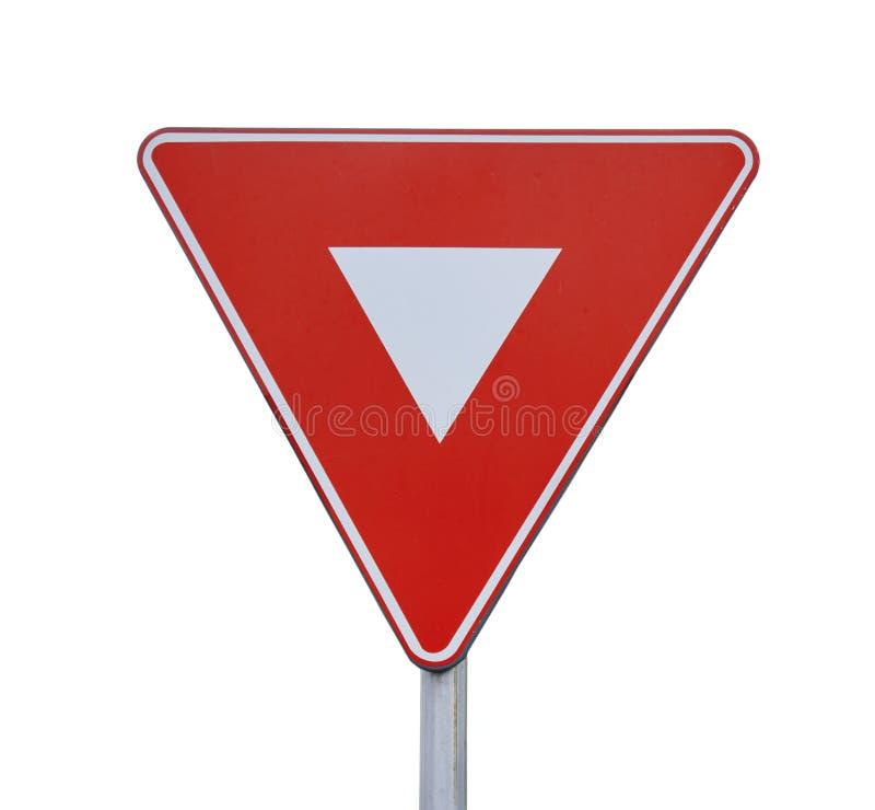 Segno rosso di coordinazione di traffico stradale del triangolo sulla barretta isolata immagine stock libera da diritti