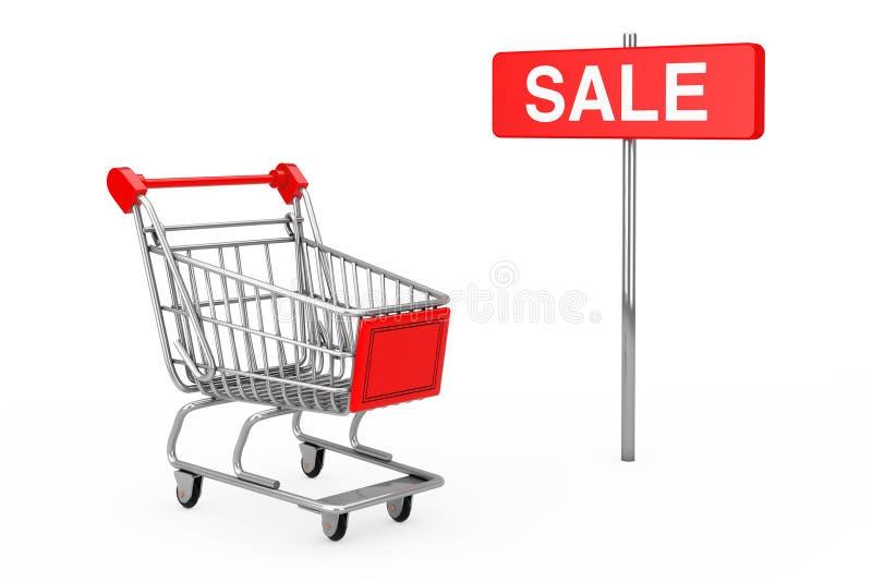 Segno rosso di vendita di Palo vicino al carrello rappresentazione 3d illustrazione vettoriale