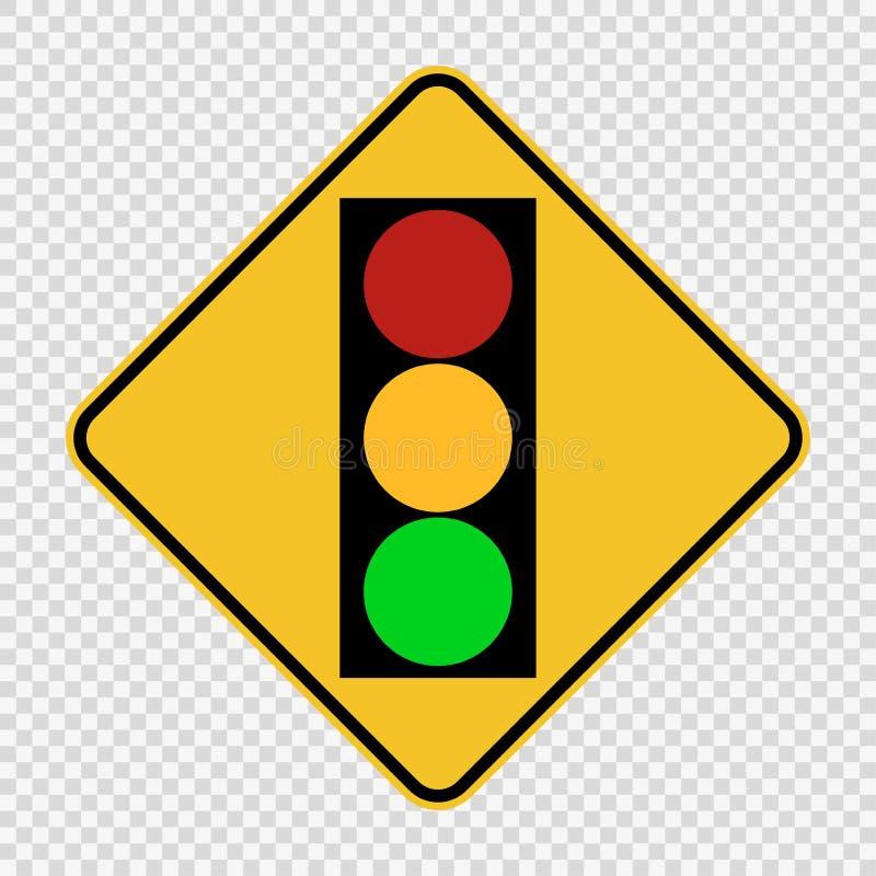 Segno rosso giallo verde chiaro di traffico del segnale di simbolo su fondo trasparente illustrazione di stock