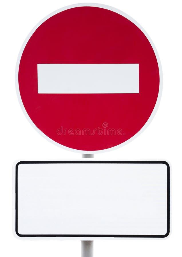 Segno rotondo di proibizione - l'entrata è proibita e segno bianco per l'iscrizione immagini stock libere da diritti