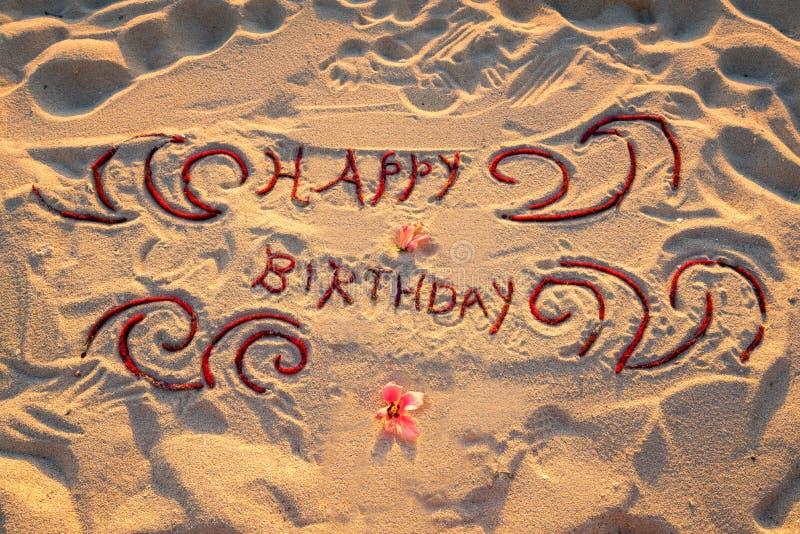 Segno scritto a mano di buon compleanno fotografia stock
