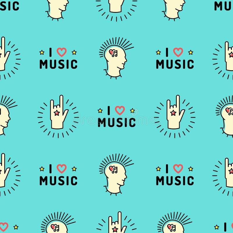 Segno senza cuciture del rotolo della roccia N della mano del modello di musica, Mohawk punk illustrazione vettoriale