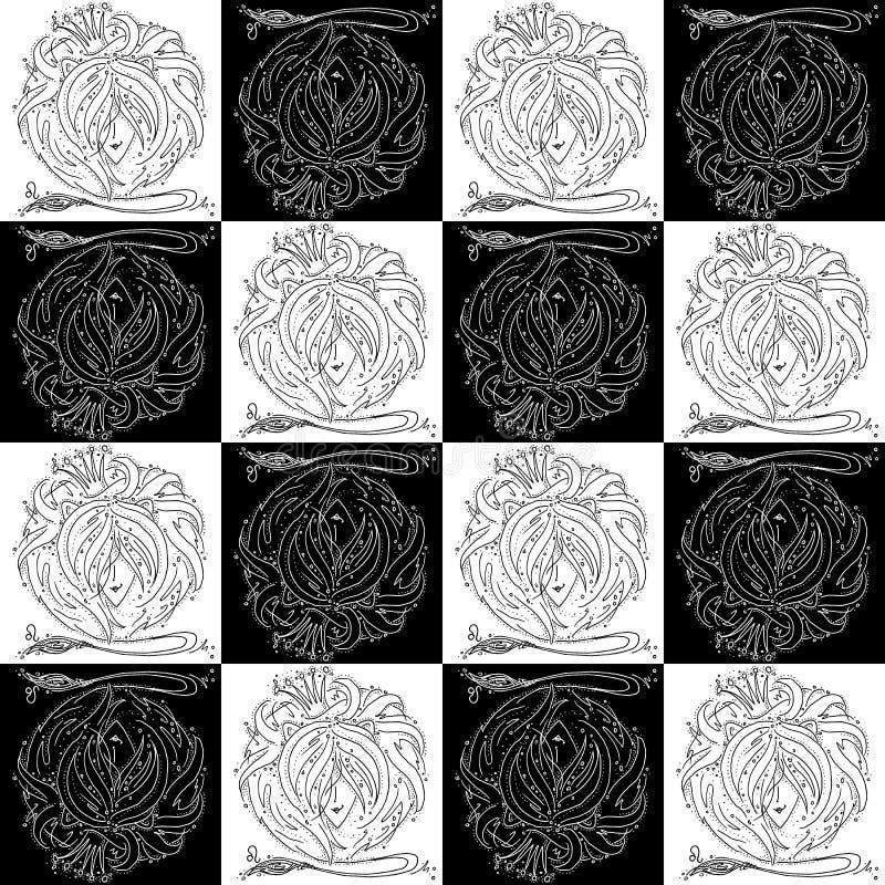 Segno senza cuciture Leo dello zodiaco di struttura in bianco e nero disegnando una ragazza con capelli come la criniera di un le fotografia stock