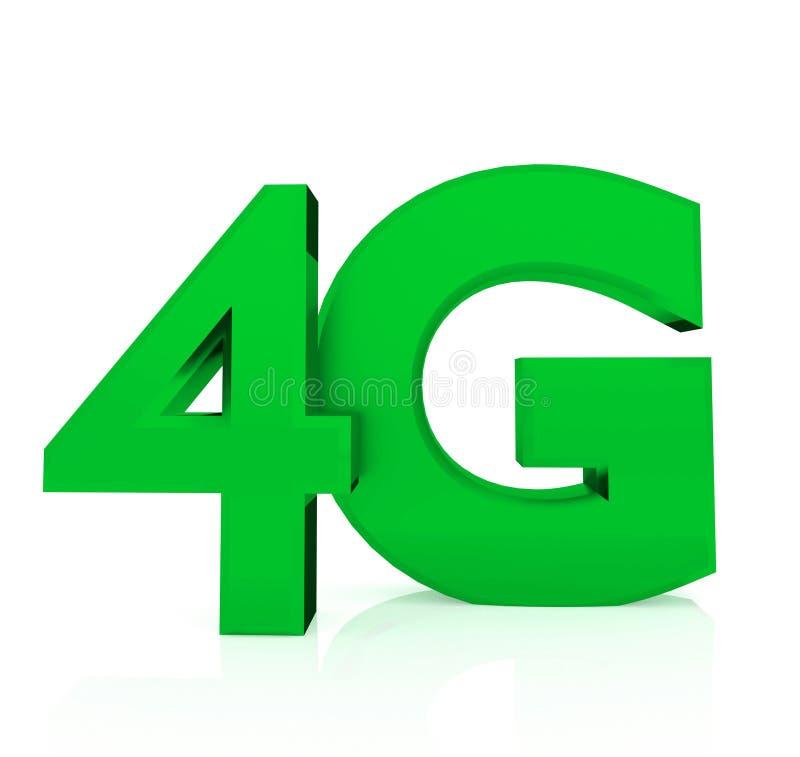 segno senza fili 4G Concetto mobile di telecomunicazione Fondo bianco isolato 3d che renering illustrazione di stock