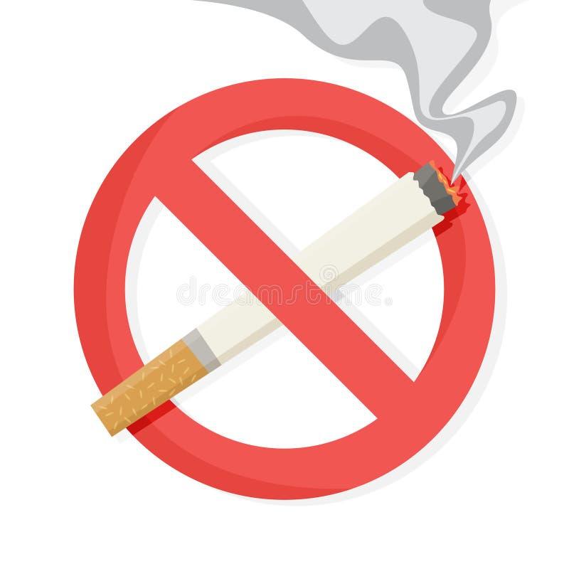Segno severo rosso con la sigaretta dietro  illustrazione vettoriale