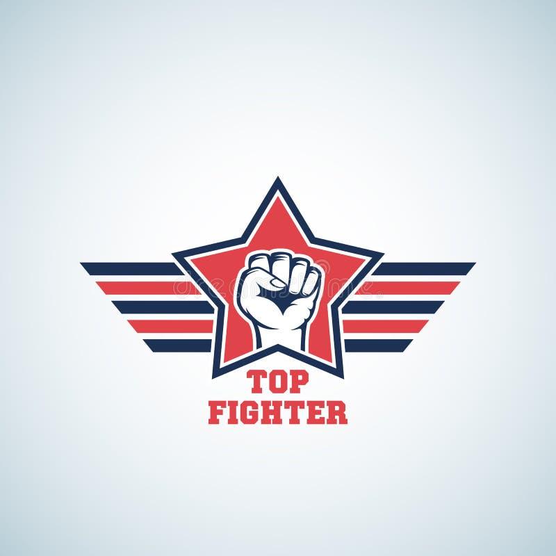 Segno, simbolo, icona o Logo Template superiore di vettore dell'estratto del combattente Pugno notevole in stella rossa con le al illustrazione di stock