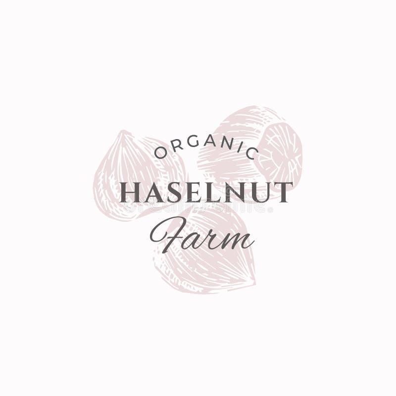 Segno, simbolo o Logo Template di vettore dell'estratto dell'azienda agricola della nocciola Hazel Nuts Sillhouettes elegante con royalty illustrazione gratis
