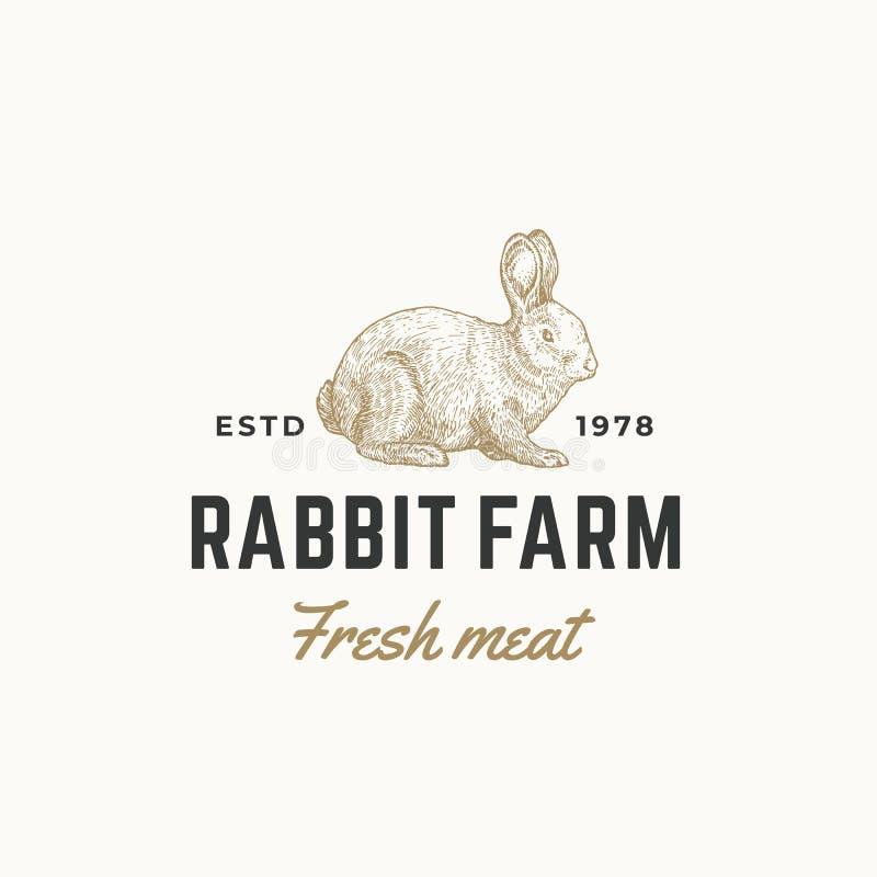 Segno, simbolo o Logo Template di vettore dell'estratto della carne fresca dell'azienda agricola del coniglio Schizzo disegnato a illustrazione vettoriale