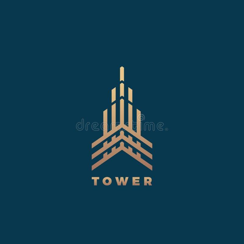 Segno, simbolo o Logo Template minimo di vettore della geometria astratta della torre Linea premio concetto della costruzione di  royalty illustrazione gratis