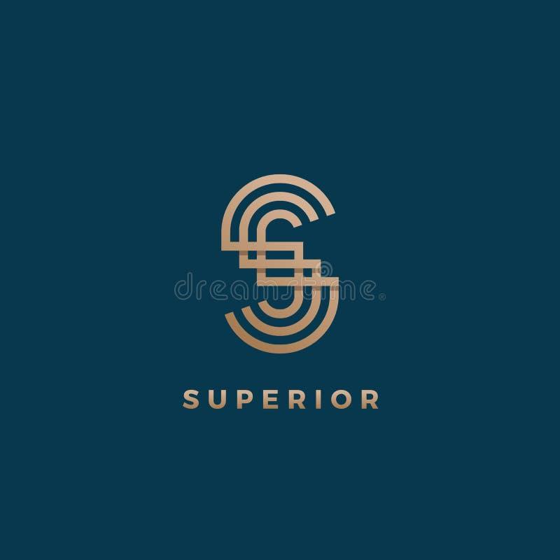 Segno, simbolo o Logo Template minimo geometrico astratto di vettore Monogramma moderno della lettera di S Pendenza dorata isolat illustrazione di stock