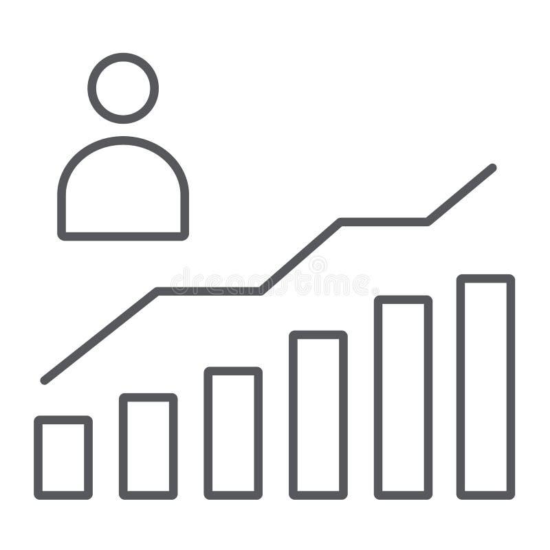Segno sottile della linea icona, di aumento e del diagramma, della persona e del grafico di crescita di carriera, grafica vettori illustrazione vettoriale