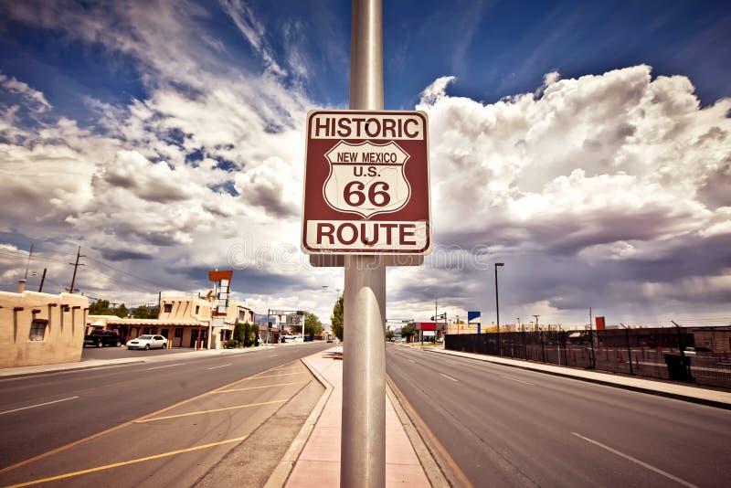 Segno storico dell'itinerario dell'itinerario 66 fotografia stock