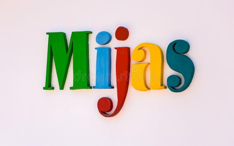 Segno su Mijas immagini stock libere da diritti