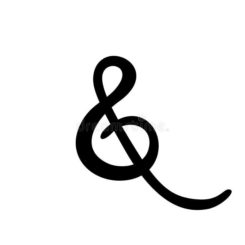 Segno & su ordinazione su fondo bianco Calligrafia scritta a mano Grande per gli inviti di nozze, cartoline d'auguri illustrazione vettoriale