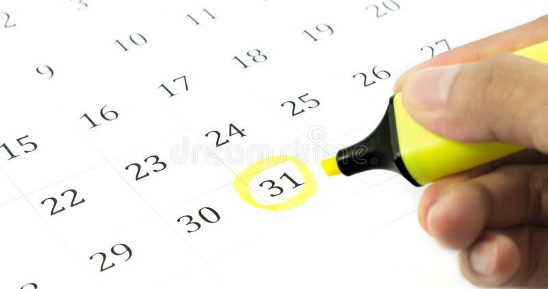 Segno sul calendario a 31. fotografie stock