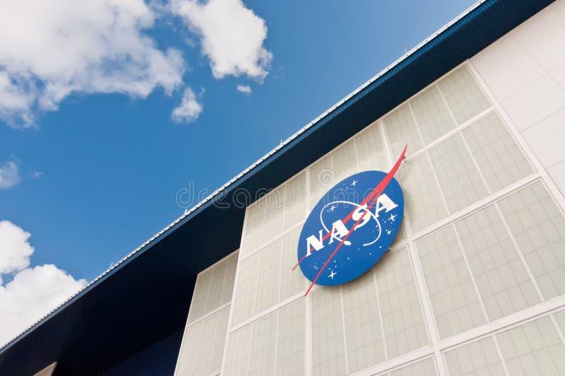 Segno sulla NASA John F Kennedy Space Center fotografie stock
