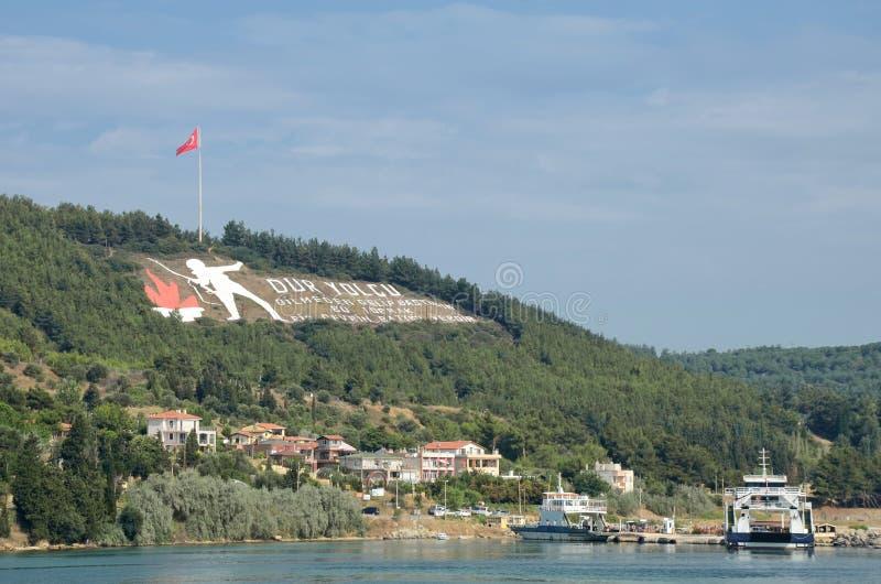 Segno sulle colline di Kilitbahir, Canakkale, Turchia di Dur Yolcu immagini stock